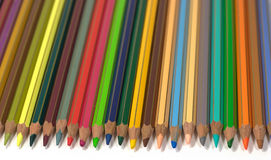 Color pencils over white. Many color pencils isolated on white Stock Image