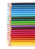 Color pencils over white stock photo