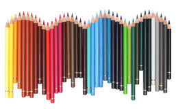 Color pencils over white Stock Photos
