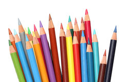 Color pencils over white Stock Images