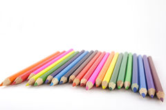 Color pencils over white Royalty Free Stock Photos