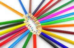 Color pencils over white. Multi color pencils over white Stock Image