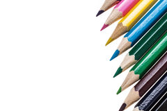Color pencils over white Royalty Free Stock Photography