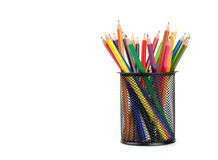 Color pencils in a pail Royalty Free Stock Photography