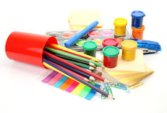 Color pencils and paints Stock Photo