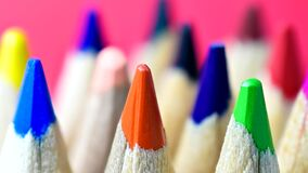 Color pencils panning and zoom. Close-up stock video footage