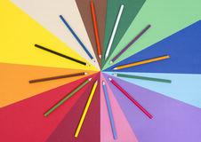 Color pencils on paper. Royalty Free Stock Photo