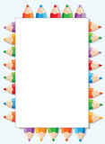 Color pencils and paper. Illustration of a color pencils and paper Royalty Free Stock Photos