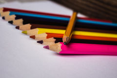 Color pencils and pencil folded Stock Images