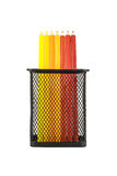 Color pencils in pencil holders Stock Image