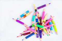 Color pencils. Color pencil is used almost all rods. Songkhla, Thailand Stock Photography