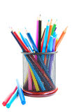 Color pencils and pens Stock Photo
