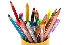 Color pencils and pens Royalty Free Stock Images
