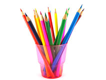 Color pencils in the pink prop Stock Photo