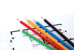 Color pencils and plans Stock Photo