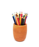 Color pencils in pots Royalty Free Stock Photo