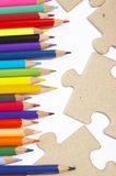 Color pencils, puzzle Royalty Free Stock Images