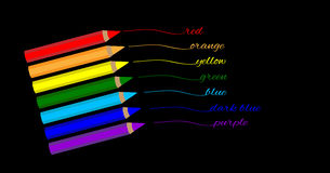 Color pencils of rainbow colors Stock Photos