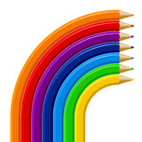 Color pencils rainbow template  on white background Stock Photography