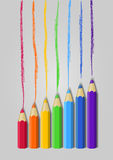 Color pencils in a raw, vector Royalty Free Stock Photo