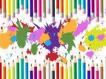 Color Pencils Represents Colours Multicolored And Tutoring. Color Education Indicating School Schooling And Development royalty free illustration