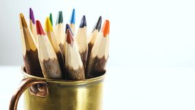 Color pencils. Rotate on the table stock video footage