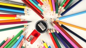 Color pencils. Rotate on the table stock footage