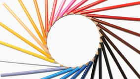Color pencils rotating in a wonderful circle stock video