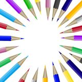 Color pencils in round shape with copyspace for text. Banner template with crayon in round shape. Copyspace for design graphic and text, education school Royalty Free Stock Image