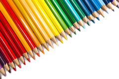 Color pencils in a row Royalty Free Stock Images