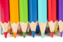 Color pencils in a row Royalty Free Stock Photography
