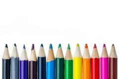 Color pencils row Royalty Free Stock Photography