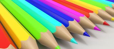 Color pencils in a row Stock Photo