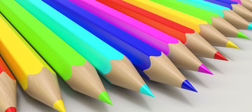 Color pencils in a row Stock Photography