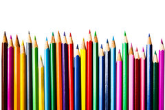 Color pencils row on white background; education equipment Stock Photo