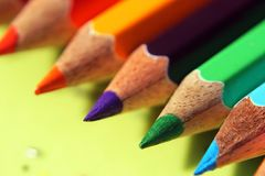 The color pencils`s Point. The close-up of color pencil`s point with blur background stock photography