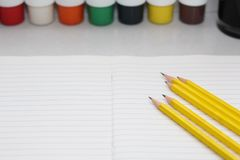 Color pencils for schoolchildren and students stock photos