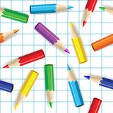 Color pencils seamless background. Stock Photo