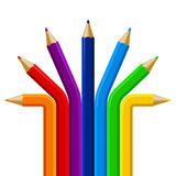 Color pencils semicircle template  on white background. Stock Photos