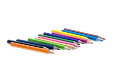 Color pencils set on white background Stock Images