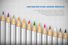 Color pencils set on white background Royalty Free Stock Photography