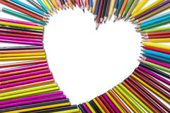 Color pencils shaped heart symbol Stock Image