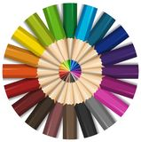 Color pencils with sharp points. Illustration Royalty Free Stock Photos