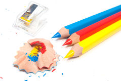 Color pencils and sharpener Stock Images