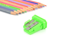 Color pencils and sharpener Stock Photography