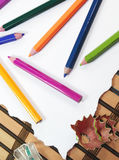 Color pencils with sharpener Royalty Free Stock Image