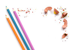 Color pencils and shavings frame Royalty Free Stock Image