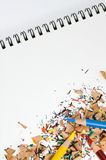 Color Pencils, Shavings on Pad Royalty Free Stock Photo