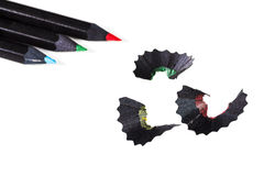 Color pencils with shavings Stock Photography