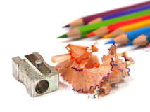 Color pencils shavings on white Royalty Free Stock Images